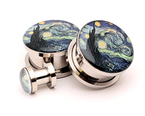 Screw on Plugs - Starry Night Picture Plugs - 0g - 8mm - Sold As a Pair