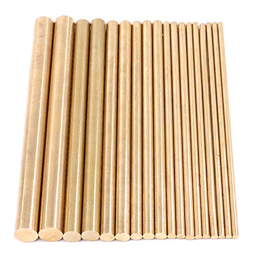 Swpeet 18Pcs Assorted Brass Solid Round Rod Lathe Bar Stock Kit, Diameter 2mm-8mm Length 100mm, Perfect for Various Shaft, Miniature Axle, Model Plane, Model Ship, Model Cars
