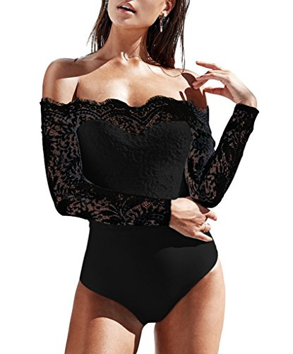 Bodysuit Trim Lace - Sumtory Women Bodycon Floral Lace Romper One Shoulder Long Sleeve Bodysuit Thong Black M