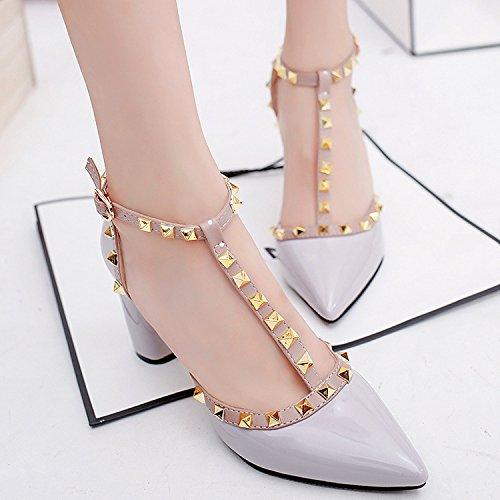 Printemps Painted chaussures chaussures Sandales et avec à d'été talons Cuir Baotou 34 bout femelle à talons hauts avec T à épais hauts épais creux élégant gris pUzFwqfx