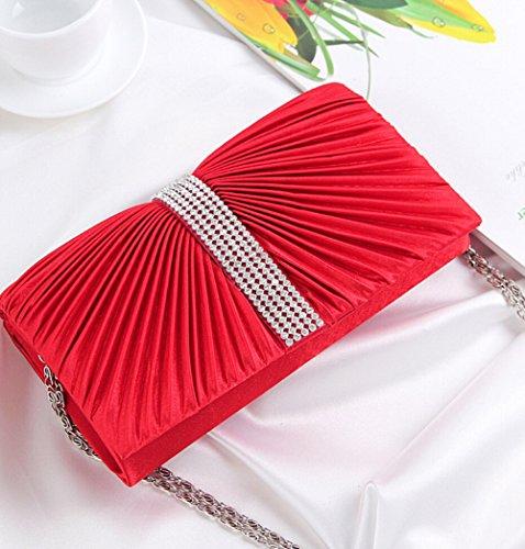 Sac Sac à Mariage Soirée D'embrayage rouge main Enveloppe Fête Cocktail Plissé Femme 04Ugxx