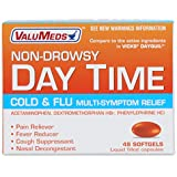 ValuMeds Non-Drowsy Cold & Flu (48 Softgels) Multi-Symptom Relief for Congestion, Headache, Sore Throat, Aches and Pains, Fever | Acetaminophen (Compare to Active Ingredients in DayQuil Liquicaps)