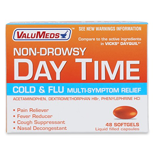 ValuMeds Non-Drowsy Cold & Flu (48 Softgels) Multi-Symptom Relief for Congestion, Headache, Sore Throat, Aches and Pains, Fever | Acetaminophen (Nyquil And Dayquil At The Same Time)