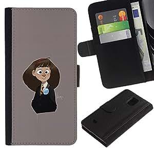 Billetera de Cuero Caso Titular de la tarjeta Carcasa Funda para Samsung Galaxy S5 Mini, SM-G800, NOT S5 REGULAR! / Grey Schoolgirl Cute Drawing Kids / STRONG