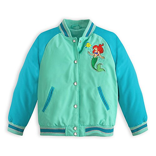 Disney Ariel The Little Mermaid Varsity Jacket for Girls Size S 5-6 5T W Green
