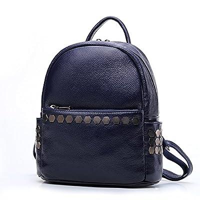 Arlene Hobbes Rivet Genuine Leather Backpack for Women Zipper Shoulder Bag (Color : Blue)