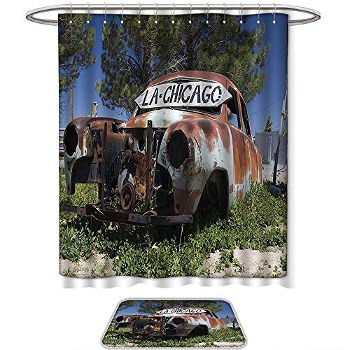2 Piece Bath Rug Set Old Car Decorations Old Car Trees Greenery in The Famous Route 66 Road in USA Rustic Home Art Brown Green Blue. Bathroom Rugs Shower Curtain/Bath Towls Sets(Ten Sizes Select) (Kmart 66 Route)