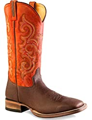 Old West Mens Orange and Western Boot Square Toe - Bsm1856