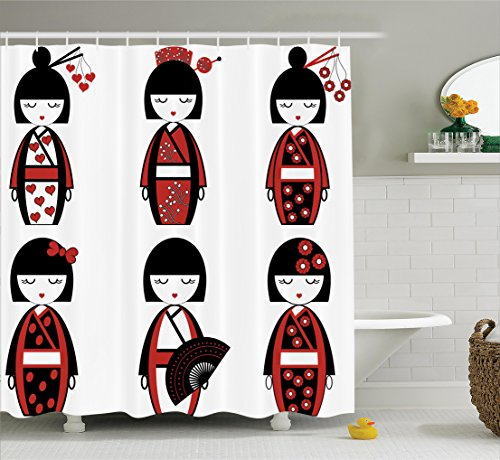 Asian Themed Costume Ideas (Girly Decor Shower Curtain Set By Ambesonne, Unique Asian Geisha Dolls In Folkloric Costumes Outfits And Hair Sticks Kimono Art Image, Bathroom Accessories, 69W X 70L Inches, Black Red)