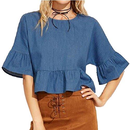 Armear Women Bell Sleeve Scoop Neck Ruffles Peplum Denim Shirt Blouse Top (L/US 14, Denim blue)