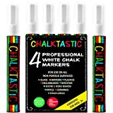 WHITE CHALK MARKER & PENS by FANTASTIC ChalkTastic Reversible Fine & Chisel Tip 6mm 4 Pack - Best for Bistro Menu Board Glass Window Markers kids art - Erasable Paint Marker - Bright Bold White Color