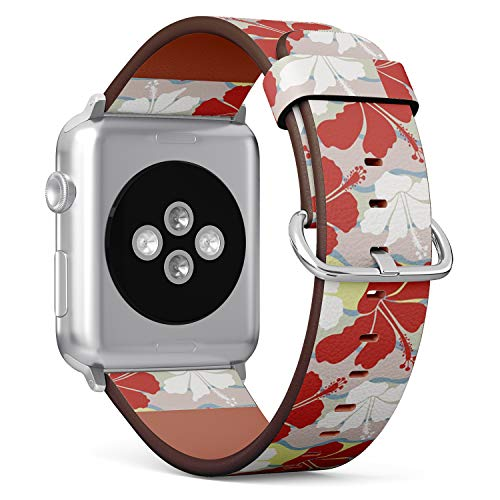 Compatible with Apple Watch (Small 38mm/40mm) Series 1,2,3,4 - Leather Band Bracelet Strap Wristband Replacement - Hawaiian Aloha Shirt