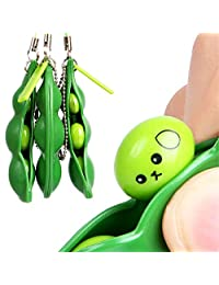 3PCS Green Squeeze - a - bean Pendant Keychain Stress Fidget Relieving Extrusion Toy Hang on Bag Decoration