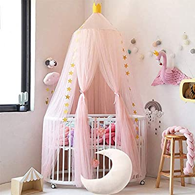Conthfut Bed Canopy Premium Yarn Play Tent Bedding for Kids Playing Reading with Children Round Lace Dome Netting Curtains Baby Boys and Girls Games House (Pink): Home & Kitchen