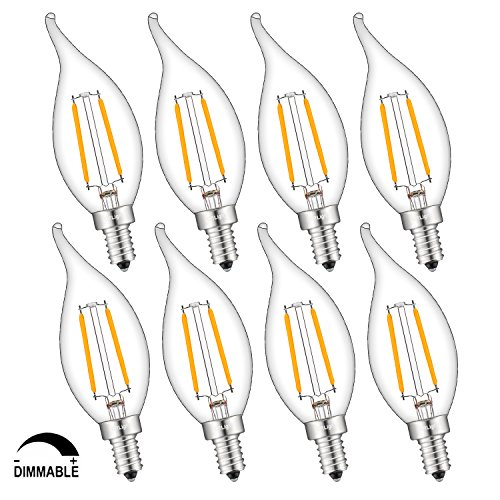 (CRLight LED Candelabra Bulb 2W 2500K Warm White, 25W Equivalent 250LM E12 Base Dimmable LED Candle Bulbs, CA11 Clear Glass Mini Flame Shape, 360 Degrees Beam Angle, 8 Pack)