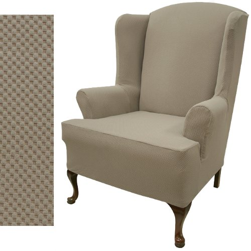 Wing Chair Slipcover Stretch Pique Medium Taupe 706