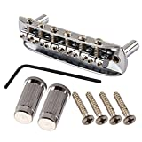 TStoy Threaded Saddle Guitar Bridge with Mounting Cup for Mustang Jazzmaster Jaguar Chrome