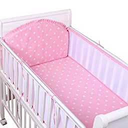 Set of 4 Nursery Baby bassinet/Crib Bedding Bumper Kids Safety Cushion Pink Love