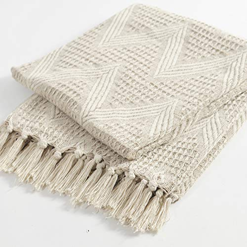 The Wish Tree Co. 50x60, Beige, 100% Cotton, Zigzag Farmhouse Throw Blanket with Fringe Tassels, Soft, Warm & Lightweight for Indoor/Outdoor, Chair, Sofa, Picnic, Beach and Everyday Use