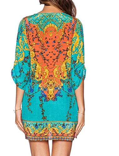 Damen Mode Sommer Strandkleider Reizvolle V-Neck A-Linie Kleid Ethno Druckkleider 3 4 arm Blusenkleider Loose Empirekleider Shirtkleider Freizeitkleid