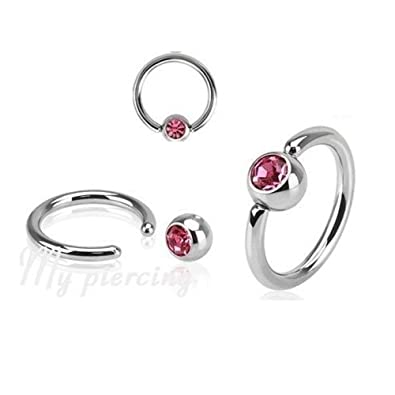 Ring In Kaars.Amazon Com 1pc Of Pink Surgical Steel Cz Captive Bead Ring Ears