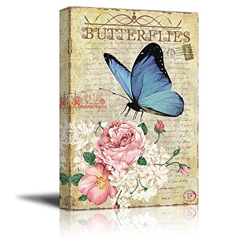 Collage of a Blue Butterfly with Pink and White Roses Over a Vintage Letter