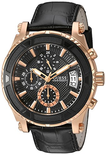 GUESS Men's U0673G5 Dressy Rose Gold-Tone Stainless Steel Watch with Chronograph Dial and Black Strap Buckle