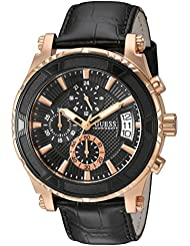 GUESS Mens Stainless Steel Casual Leather  Watch, Color: Rose Gold-Tone/Black (Model: U0673G5)