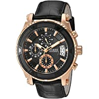 GUESS Men's Stainless Steel Casual Leather  Watch, Color: Rose Gold-Tone/Black (Model: U0673G5)