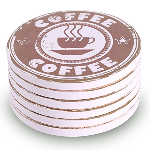 Coasters for Drinks 6-Piece Absorbent Stone Coaster Set for Drink - Coffee Style