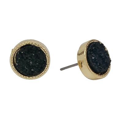 c45ea7be3 Amazon.com: Seraphina New York Druzy Post Women's Earring (Black ...