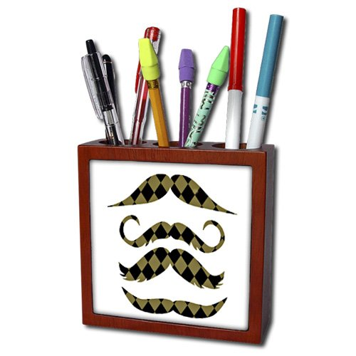 ph_152134_1 PS Creations - Gold and Black Diamonds Retro Hipster Mustaches - Tile Pen Holders-5 inch tile pen holder