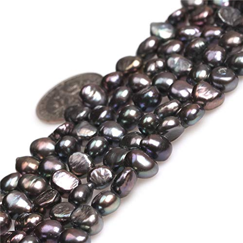 Freeform Freshwater Pearl Beads - Freshwater Cultured Pearl Beads for Jewelry Making Gemstone Semi Precious 6-7mm Freeform Black 15