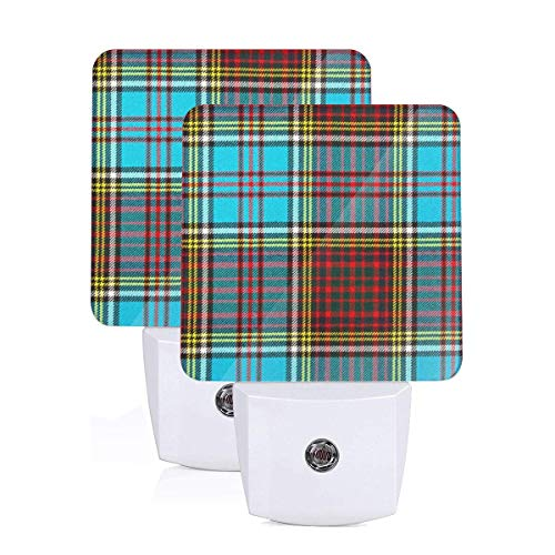 GHWEAQu Modern Anderson Heavy Weight Tartan Fashion Plug-in Night Light, Warm White LED Nightlight, Dusk-to-Dawn Sensor Energy Efficient ()