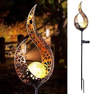 OurLeeme Luce Solare da Giardino, LED Lampada da Esterno Decorativa Forma di Fiamma Solida Luci di picchetti… 3 spesavip