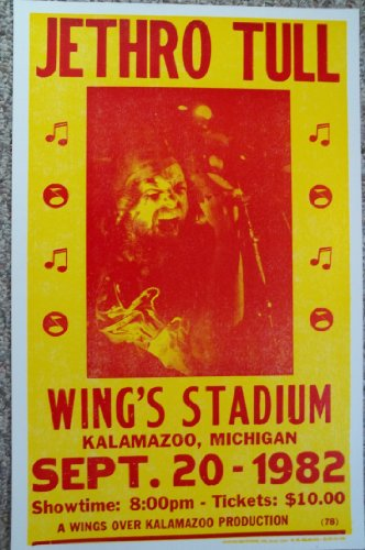 Jethro Tull at Wings Stadium Kalamazoo Michigan 1982, used for sale  Delivered anywhere in Canada
