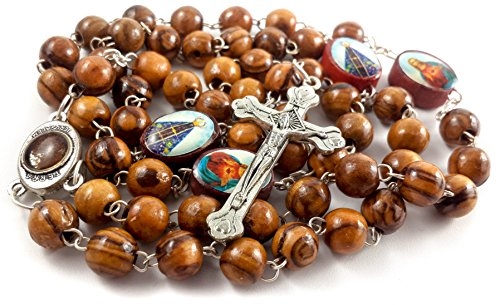 Rosary Silver Plated Cross (Olive Wood Rosary Necklace Devout Silver Plated Cross with Holy Soil and Saints)