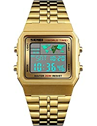 Mens Boys World Time Quartz Watch Digital Watch Sports Watch Countdown Alarm Clock Stopwatch (Gold
