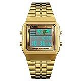 Mens Boys World Time Quartz Watch Digital Watch Sports Watch Countdown Alarm Clock Stopwatch (Gold)