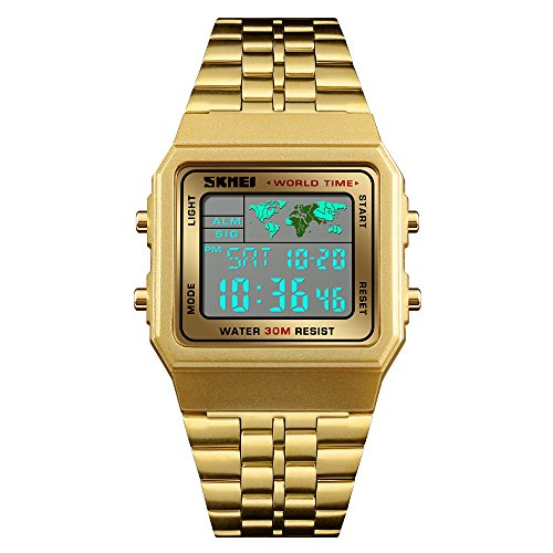 Mens Boys World Time Quartz Watch Digital Watch Sports Watch Countdown Alarm Clock Stopwatch (Gold)