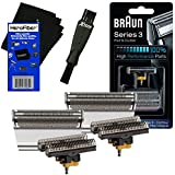 Braun Combi 31S Foil & Cutter Replacement Set, silver (2 pack) for Select Series 3, Contour, Flex XP, Flex integral (5000/6000) Shavers + Double Ended Shaver Brush + HeroFiber Gentle Cleaning Cloth