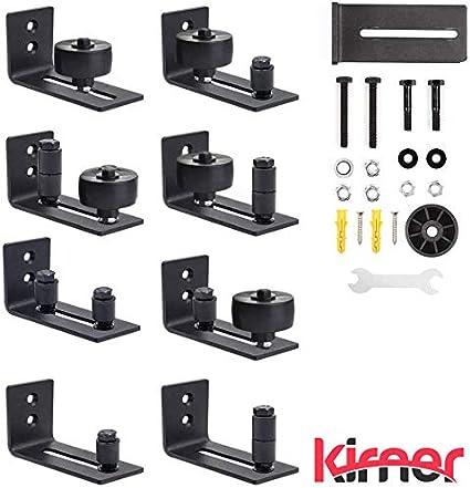 KIRNER - Guía de suelo ajustable, guía de rodillos con tornillos, 8 variantes posibles para puerta de establo universal, para todas las puertas correderas