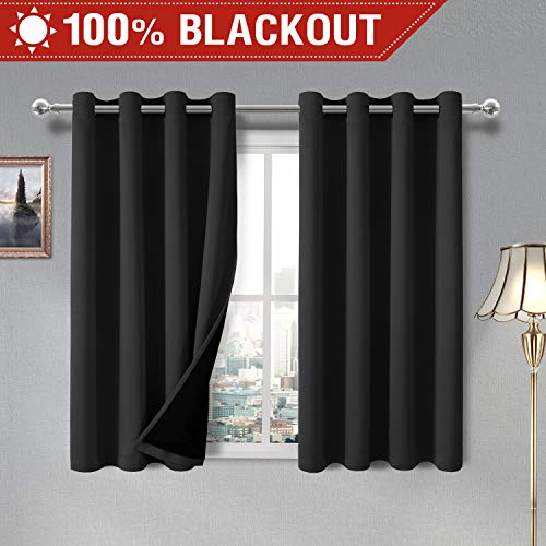 DWCN 100% Blackout Curtains - Thermal Insulated, Energy Saving & Noise Reducing Grommet Curtains for Living Room, Bedroom and Kids Room, Black, W 52 x L 54 Inch, Set of 2 Lined Curtain Panels