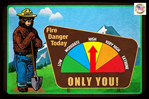 Moveable Working Gauge Smokey Bear Sign! Fire Danger! 8
