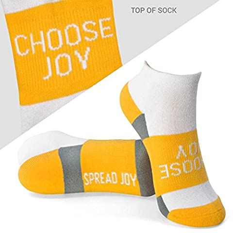Inspirational Athletic Running Socks | Women's Woven Low Cut | Choose Joy | Yellow - Joy Stocking