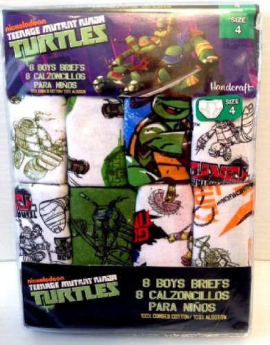 Teenage Mutant Ninja Turtle Underwear Boys Briefs 8 Pairs By Nickelodeon Sz4,7 (6)
