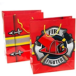 Firehouse Fireman Firefighter Gift Bags -12 pc