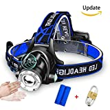 AK1980 LED Headlamp with Body Sensor 90 ° Adjustable Zoomable Flashlight Waterproof USB Rechargeable Helmet Light for Running Camping Fishing Biking Outdoor Sports (2 x 2000mAH Batteries Included)