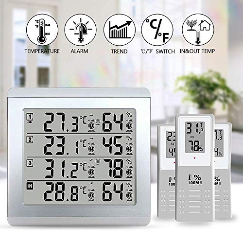 Iii Weather Station - Water Hep Digital Thermometer Humidity LCD Thermometer Alarm Temperature Meter Weather Station tester + 3 Wireless Outdoor Transmitter Humidity Sensor Monitor Alert