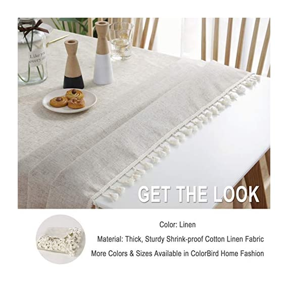 """ColorBird Solid Color Tassel Tablecloth Cotton Linen Dust-Proof Shrink-Proof Table Cover for Kitchen Dining Farmhouse Tabletop Decoration (Square, 55 x 55 Inch, Linen) - MASTERFUL DESIGN - Created from finest cotton linens and finished with beautiful tassels edge, this ColorBird stylish linen tablecloth will make your meal time more luxurious by adding shimmery flatware and simplistic porcelain plates DURABLE MATERIAL - Manufactured from super, hard wearing 100% cotton linen fabric, with a seamless construction that won't easily fray after long term use; Tablecloth measures 55"""" Width x 55"""" Length (140 x 140 cm), includes tassel length, size deviation is between 1 to 2 inch. Fits tables that seat 4 people EASY TO CARE FOR - Machine washable in low temperature or cold water, gentle cycle; Hand wash best; No bleaching; Tumble dry on low heat or lay flat to dry - tablecloths, kitchen-dining-room-table-linens, kitchen-dining-room - 515uyj1usHL. SS570  -"""